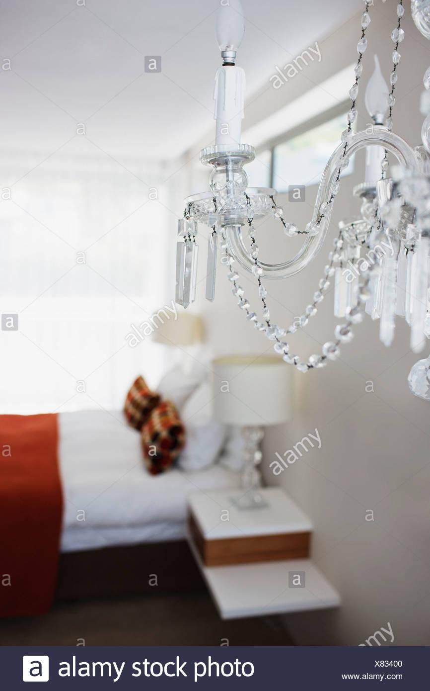 Elegant crystal chandelier in bedroom stock photo 280352128 alamy elegant crystal chandelier in bedroom arubaitofo Choice Image