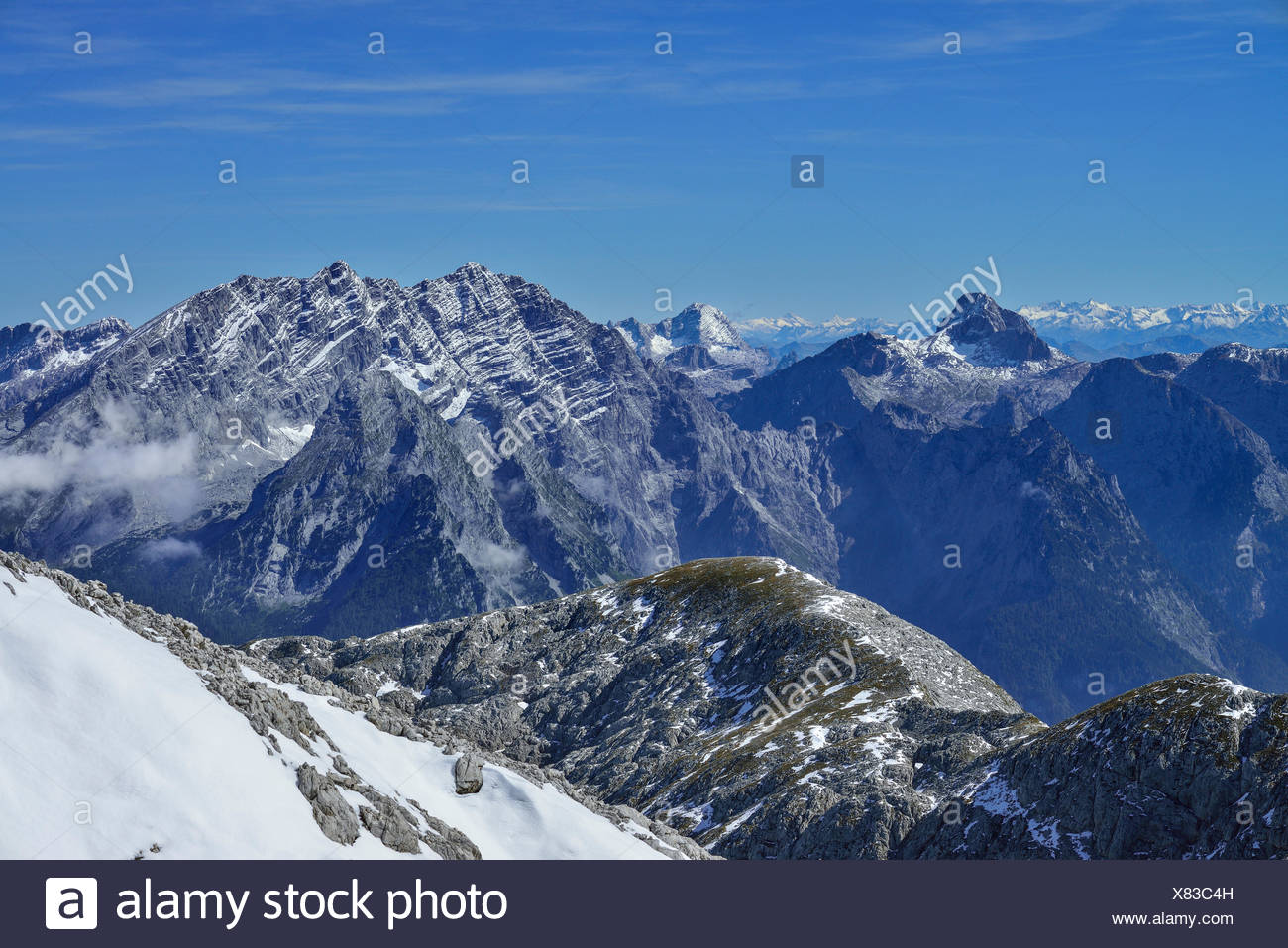 View from mount Hohe Goell over mountain scenery, Berchtesgaden National Park, Berchtesgaden Alps, Upper Bavaria, Bavaria, Germany Stock Photo