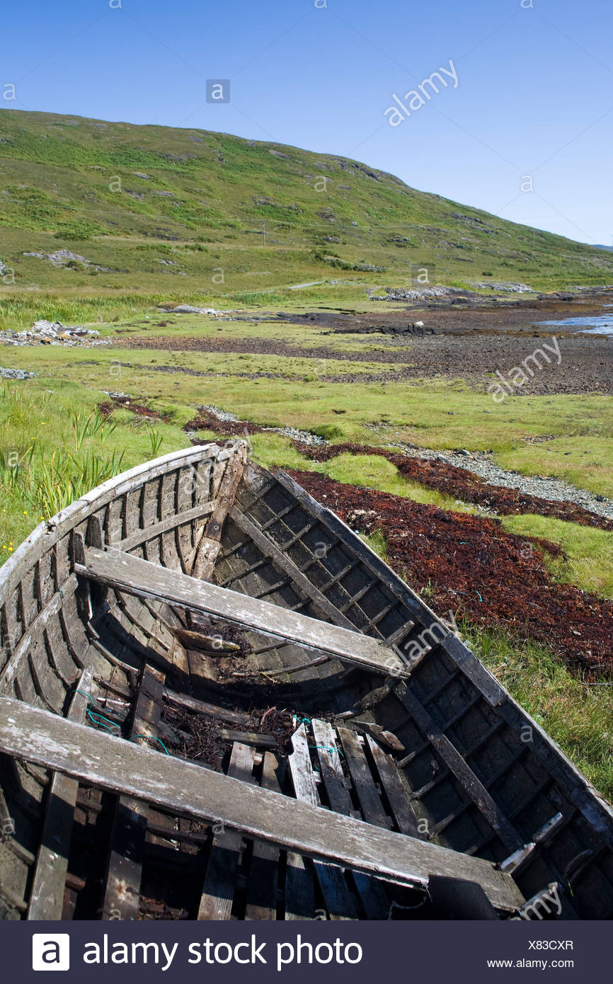 Old rowboat in a field - Stock Image