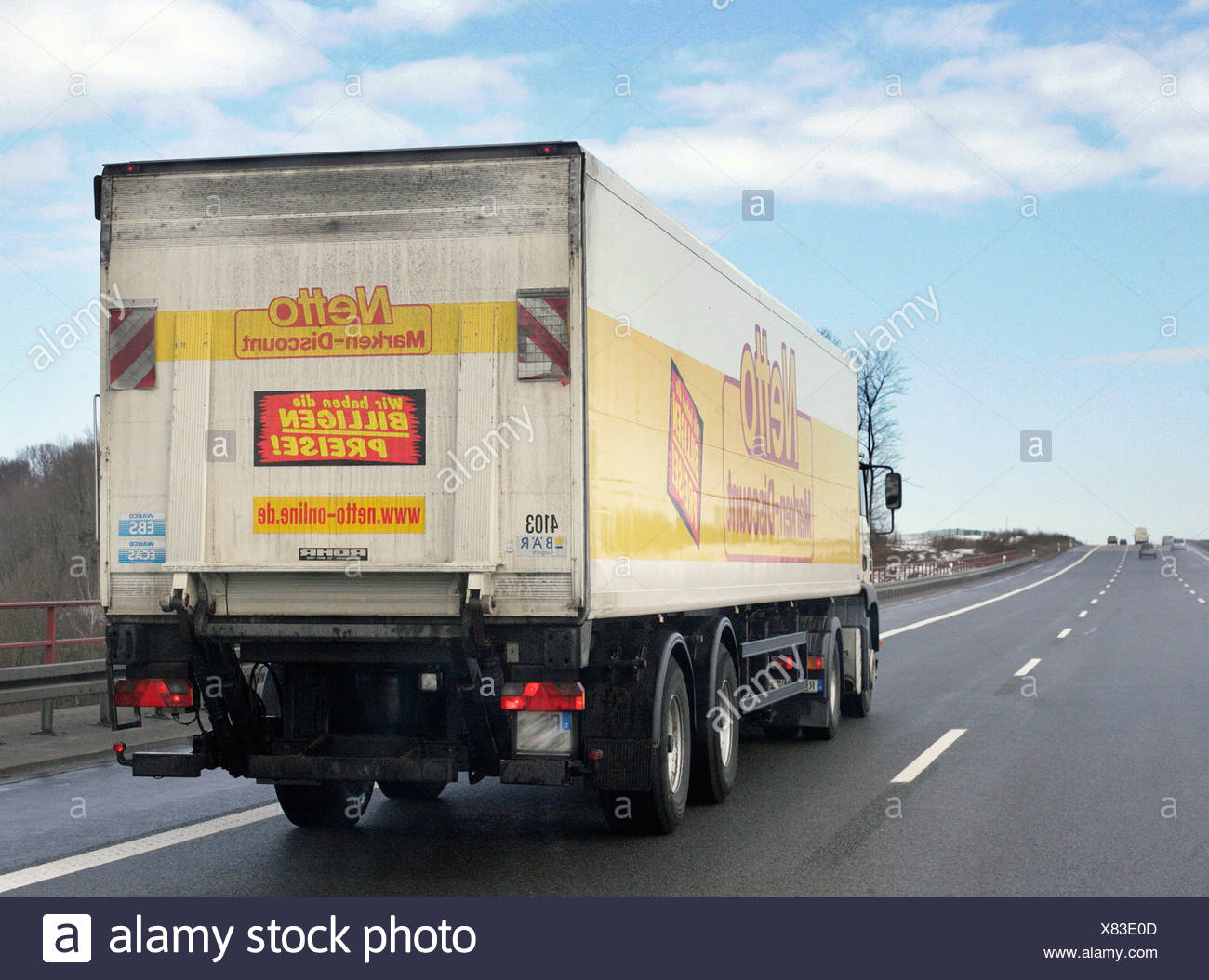 Netto Markendiscount Truck drives on a german Autobahn - Stock Image