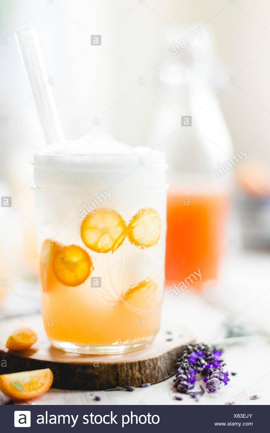 Lavender kumquat soda - Stock Image