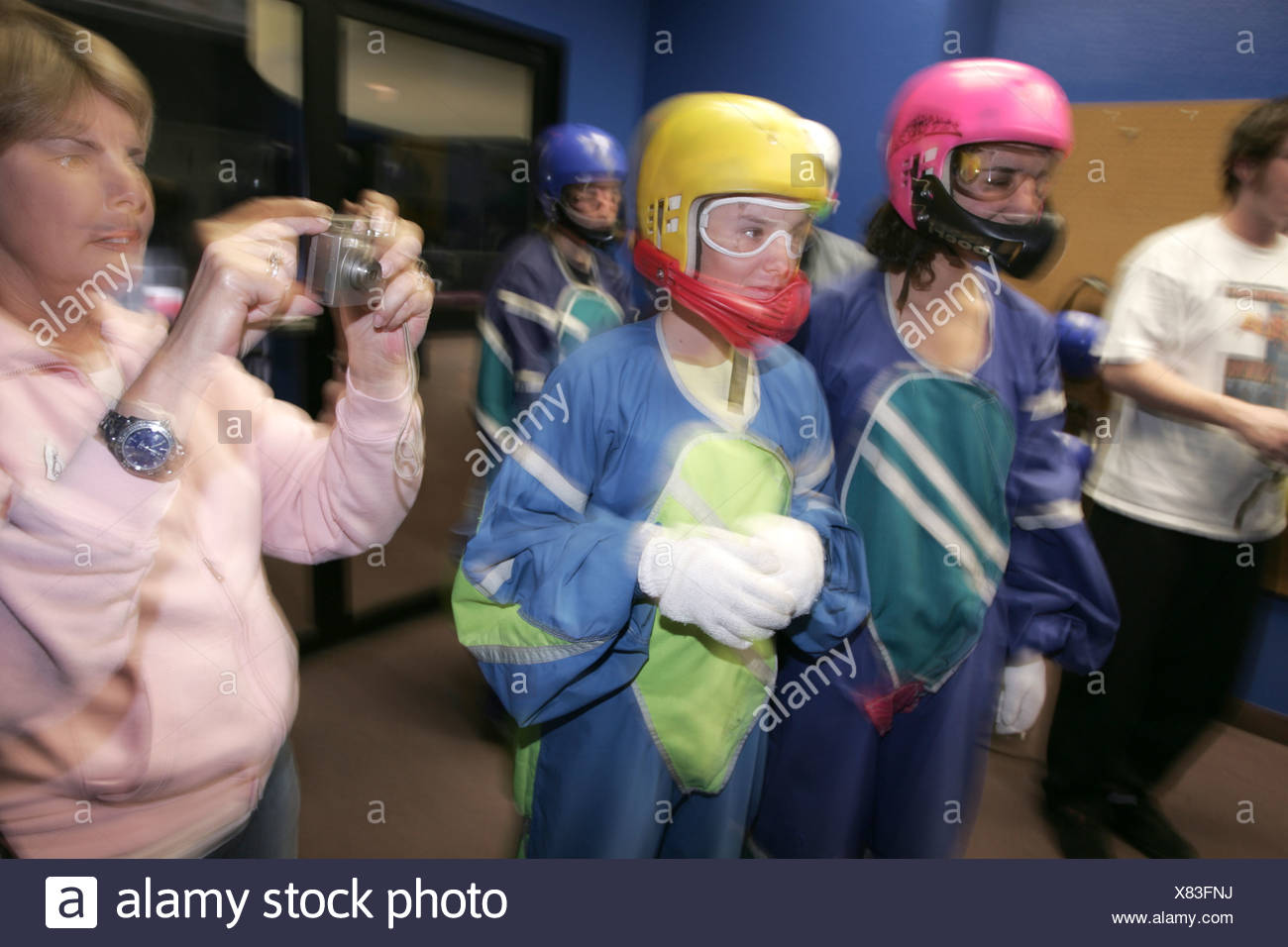 Young participants ready for an indoor skydiving flight