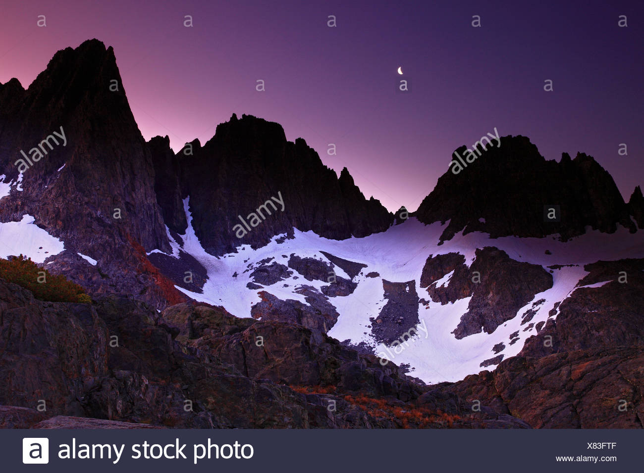 Moonrise And Alpenglow Over The Minarets In The Ansel Adams