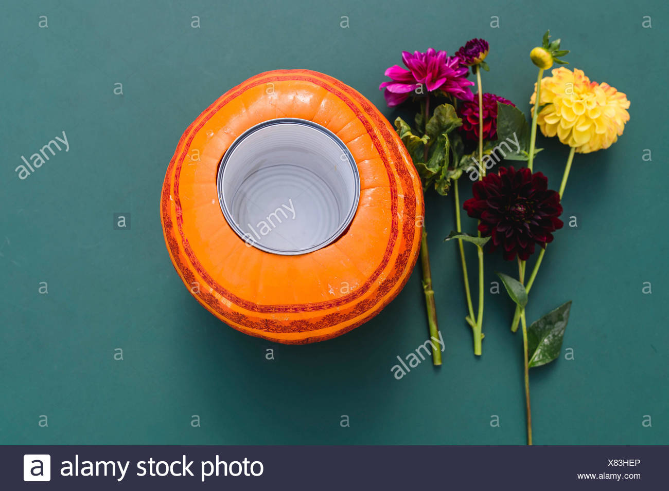 Pumpkin, hollow, tin, flowers, still life - Stock Image
