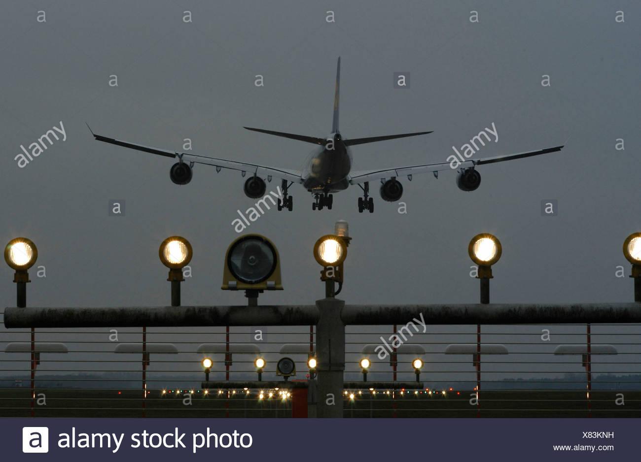 airbus A340 airplane Aviation dusk jet jet airplane landing lights