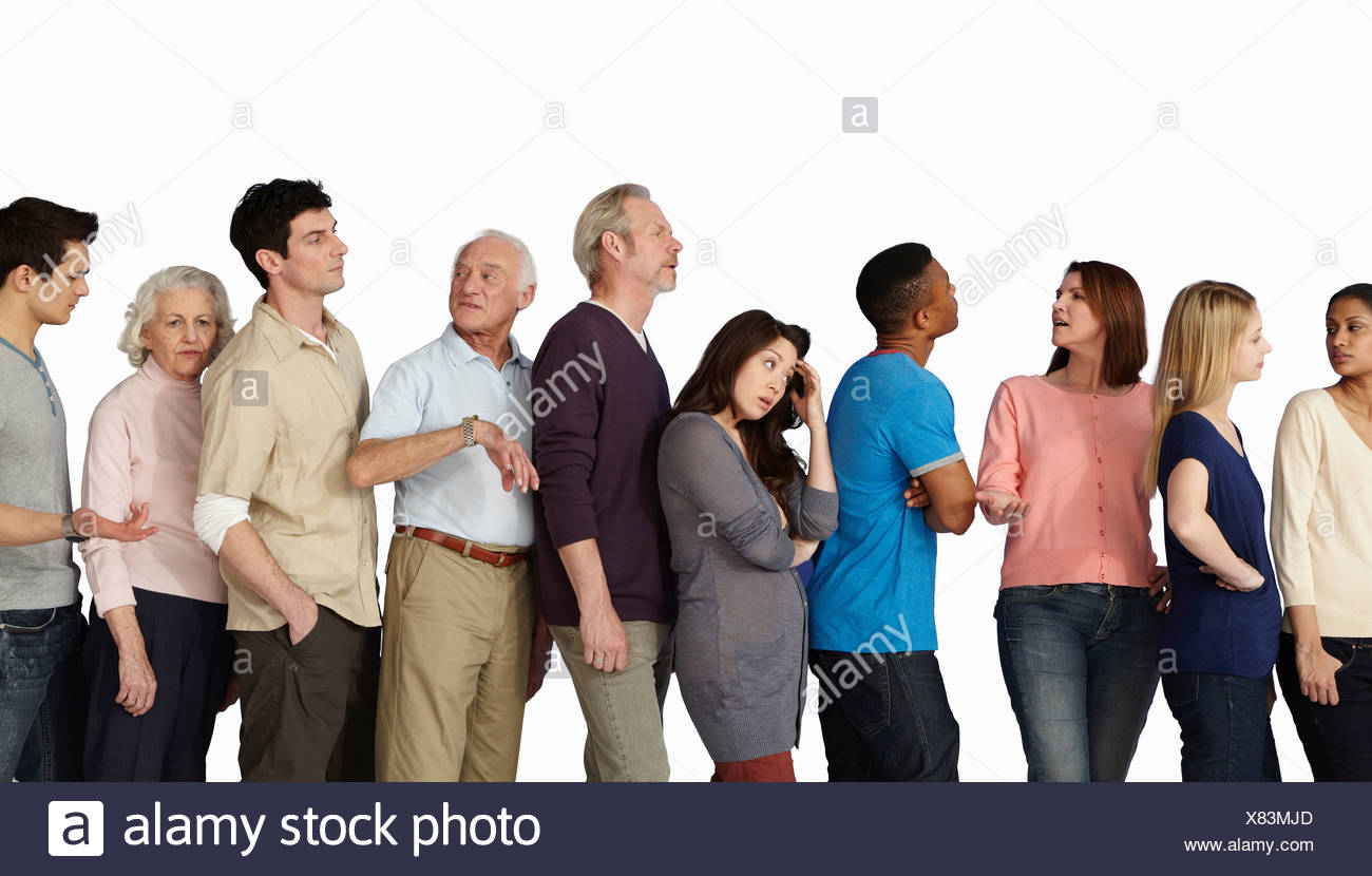 People in a queue, becoming impatient - Stock Image