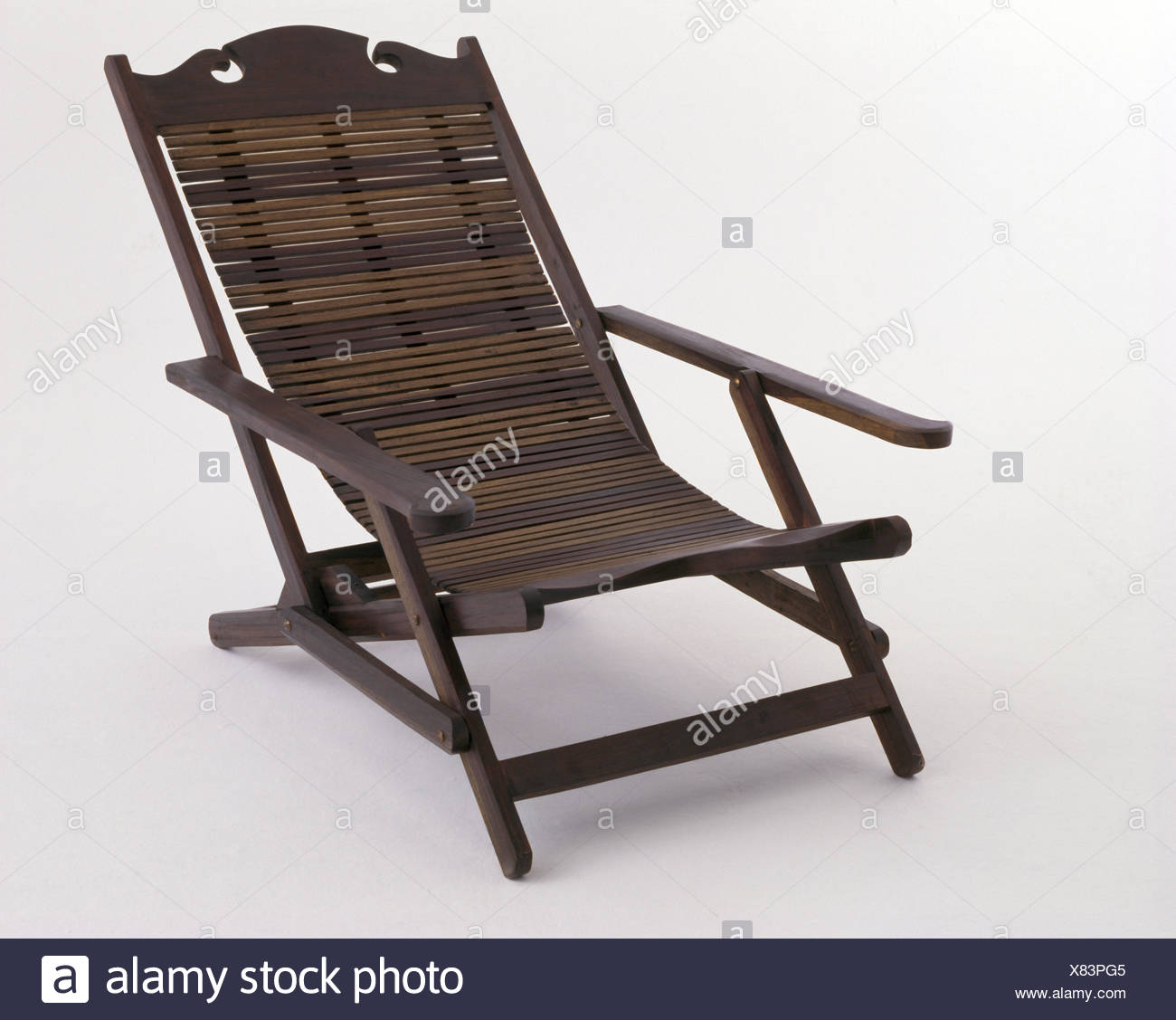 Close Up Of Slatted Wooden Planteru0027s Chair   Stock Image