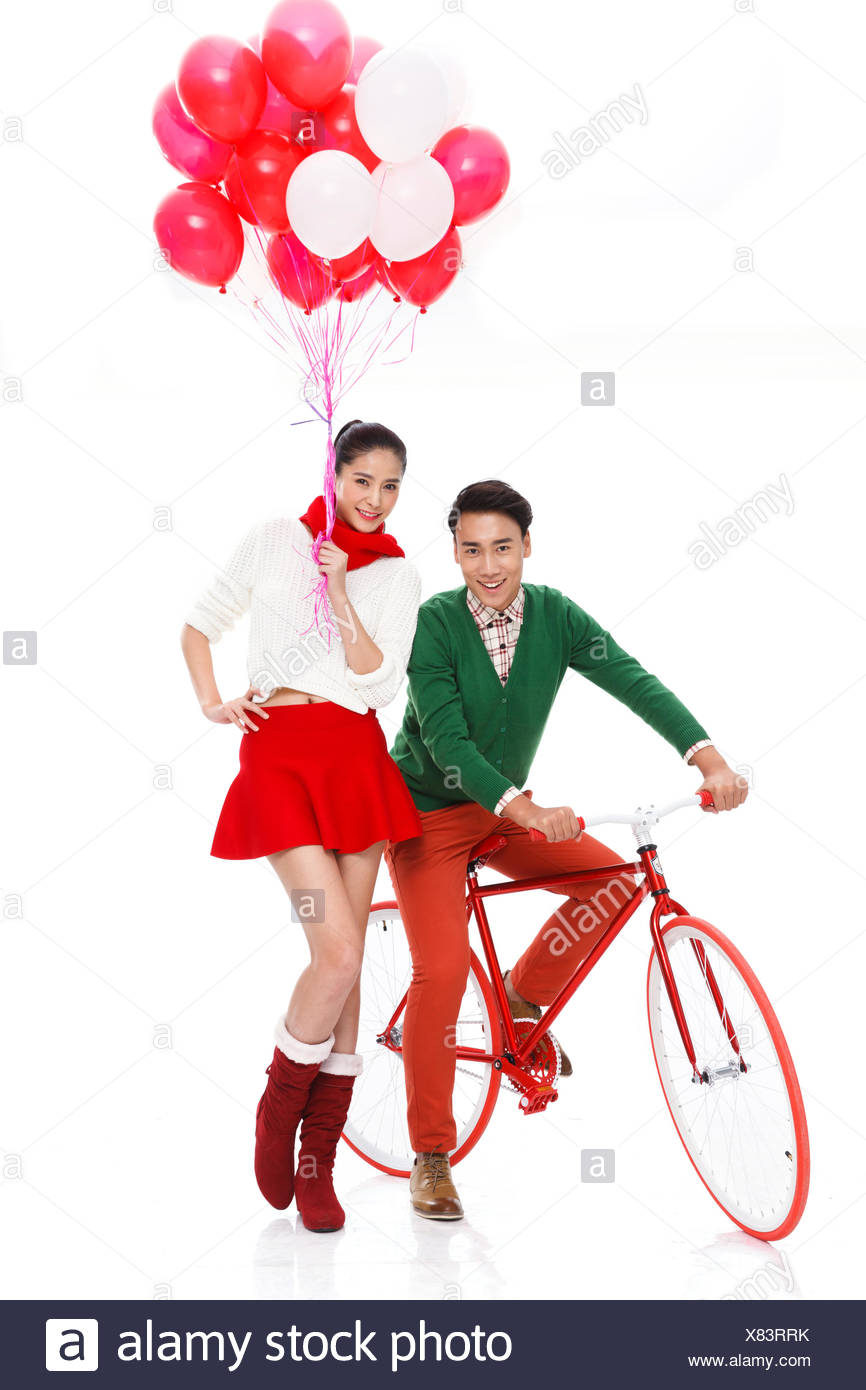 The young couple are falling in love - Stock Image