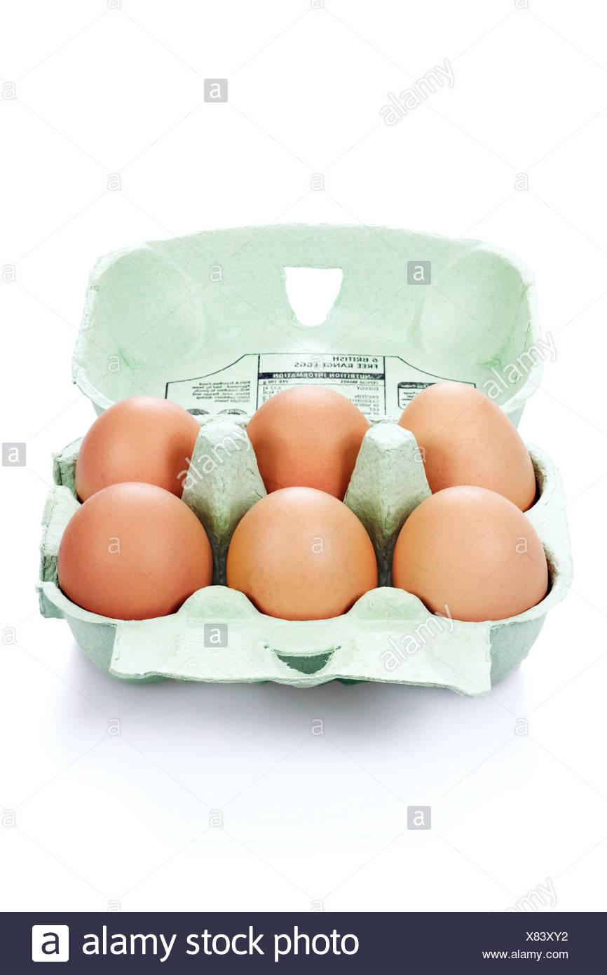 Box of six eggs - Stock Image