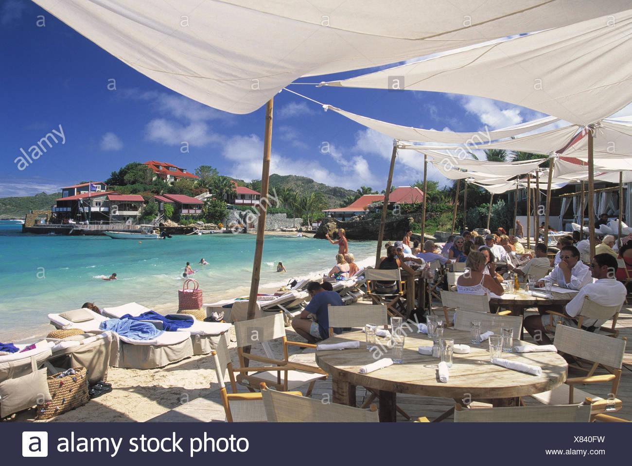 Karibik, Französische Antillen, St Barthelemy, St. Jean, Stadtstrand,  Lokal, Gäste, No Model Release! Mittelamerika, Westindische Inseln, Kleine  Antillen, ...