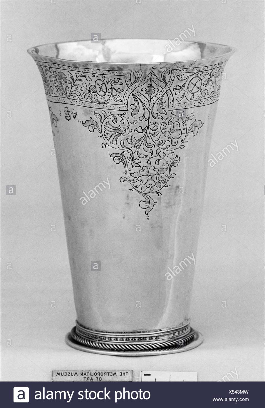 Beaker. Maker: Probably by Frans Jans (ent. 1591); Date: 1615-20; Culture: Dutch, Sneek; Medium: Silver; Dimensions: 5 1/2 x 3 3/4 in. (14 x 9.5 cm); - Stock Image