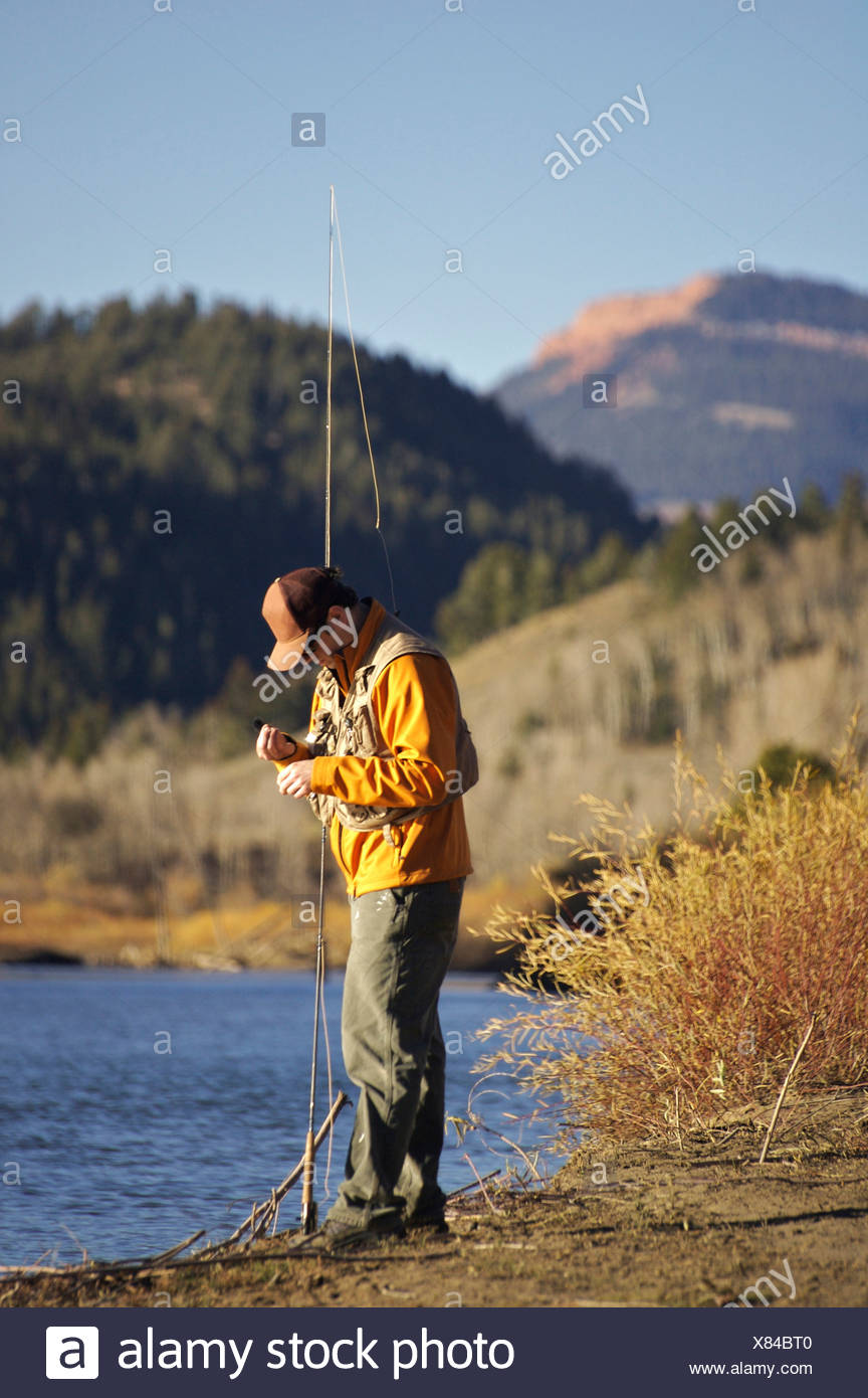 A man prepares a fly on the Gros Ventre River in Wyoming. Stock Photo