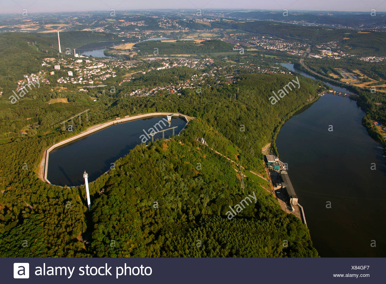 Aerial view, Koepchenwerk pumped-storage plant with reservoirs owned by RWE, a German electric power company, Ruhr river - Stock Image