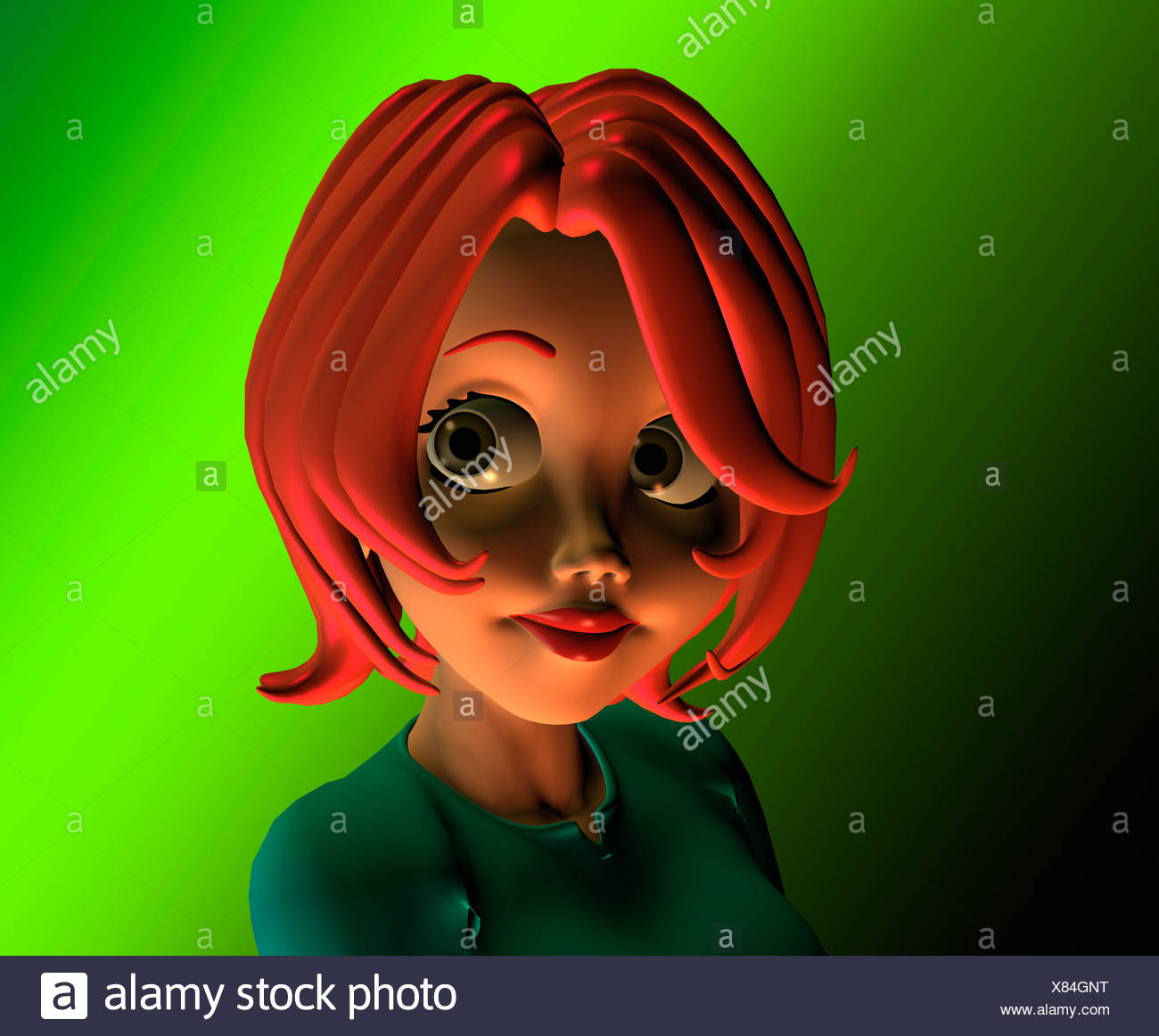 Cartoon Image Of Young Girl Smiling - Stock Image