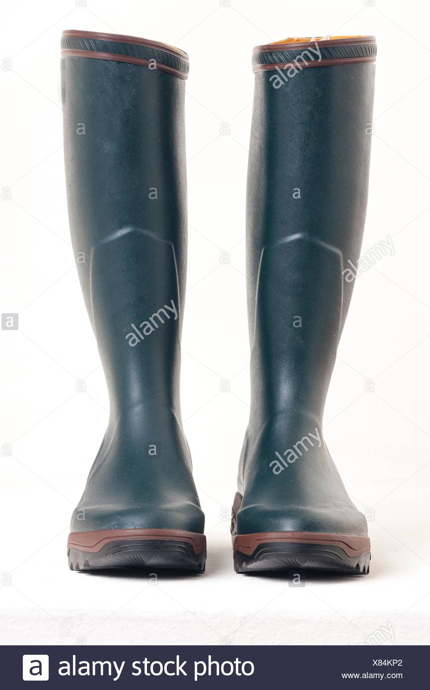 green rubber boots. Stock Photo