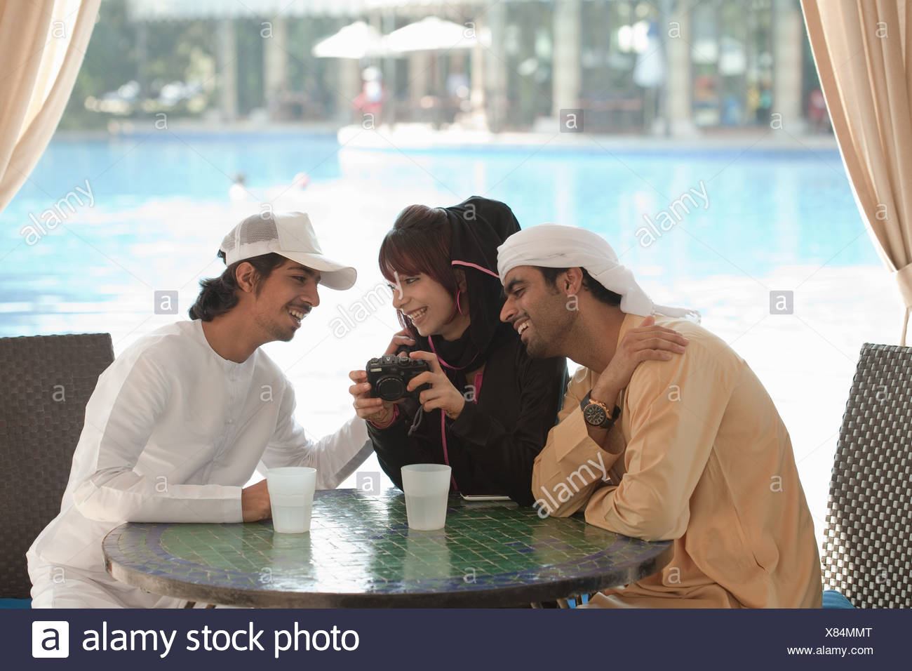 Middle Eastern people looking at camera - Stock Image