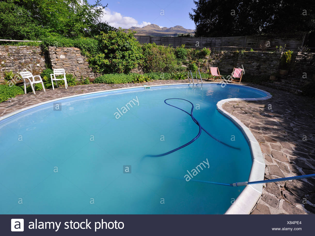 Outdoor kidney-shaped swimming-pool with paved surround Stock Photo ...