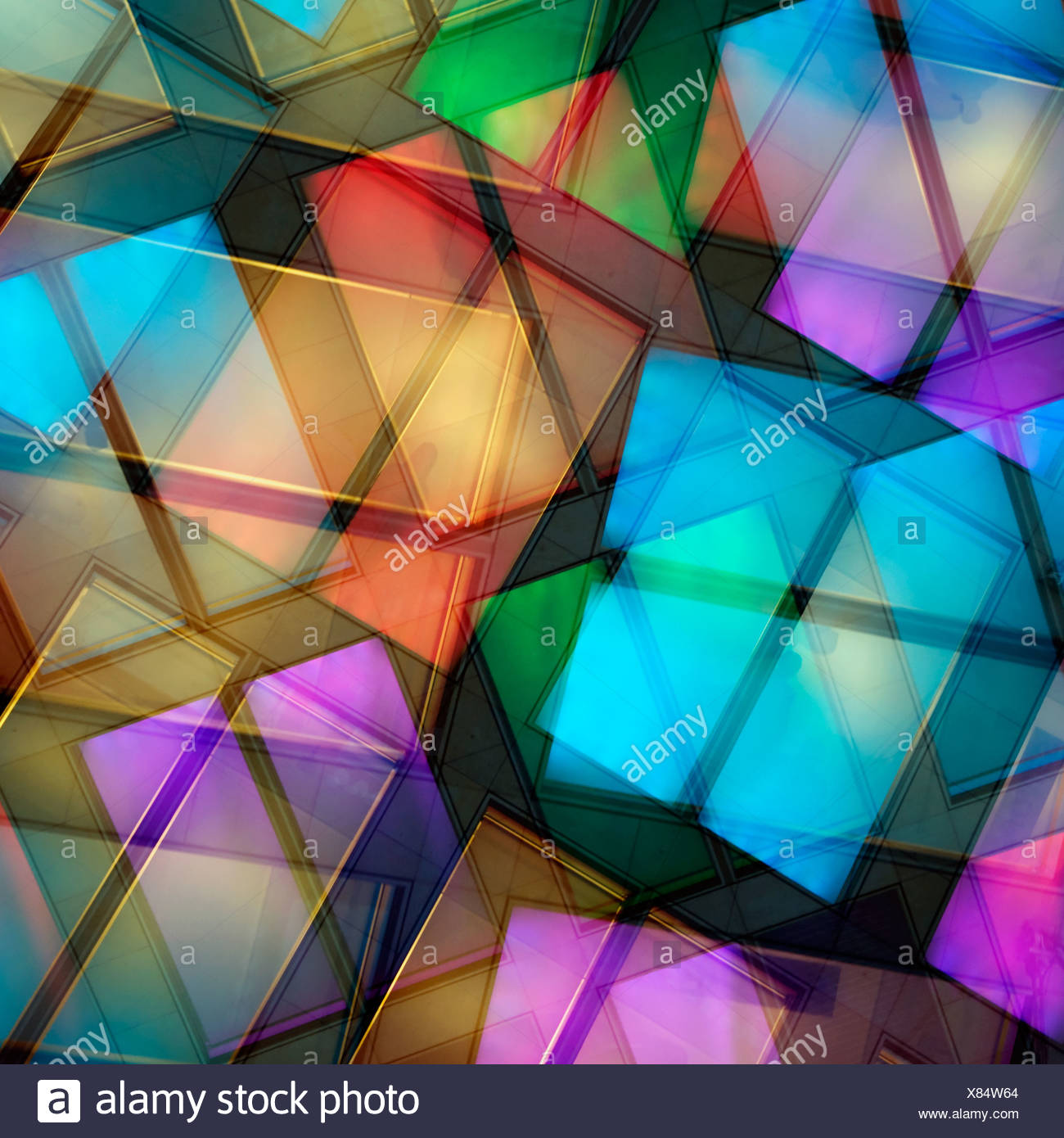 colors,shapes,double exposure - Stock Image