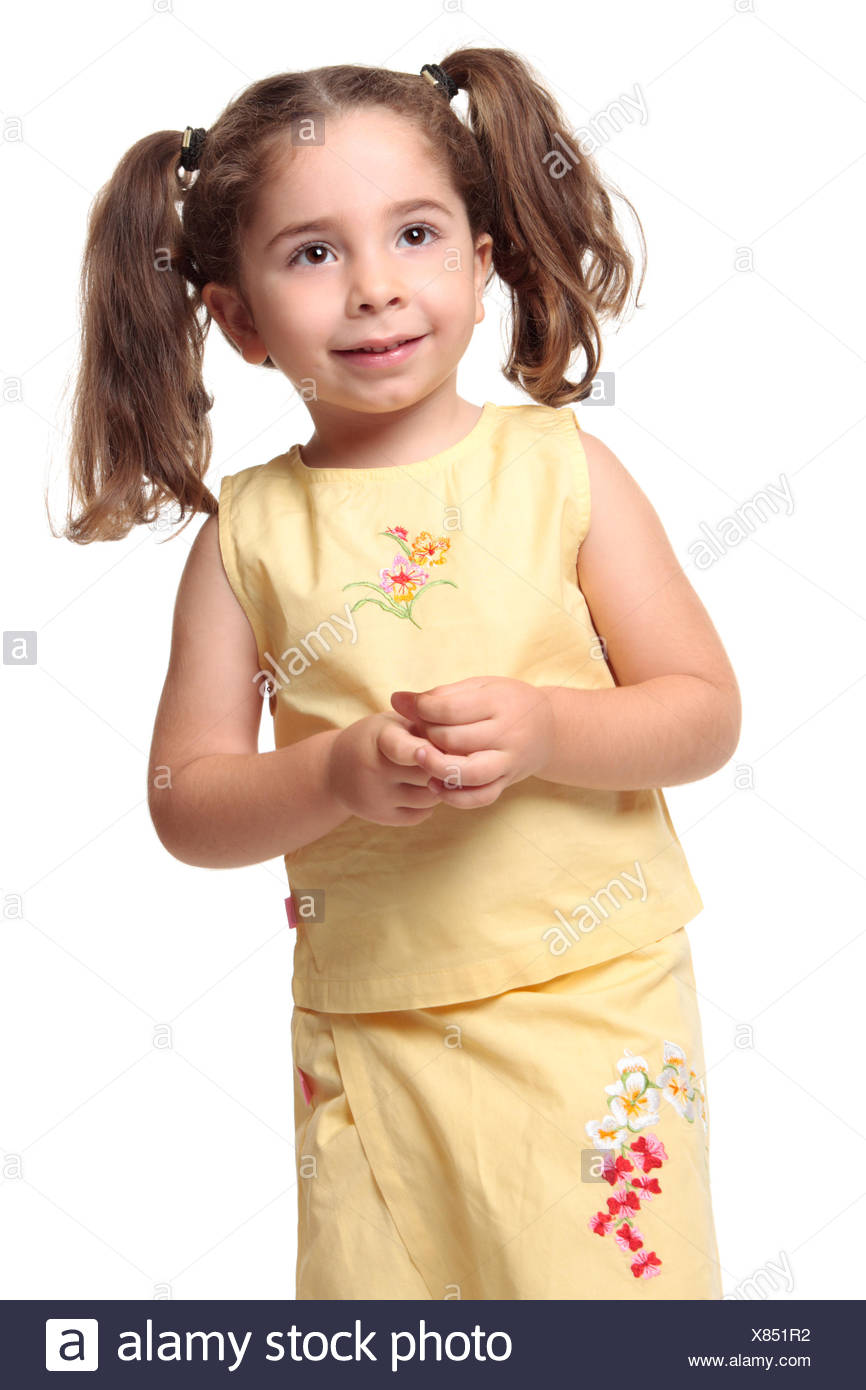 Excellent Pretty Smiling Little Girl With Ponytails Stock Photo 280394326 Natural Hairstyles Runnerswayorg