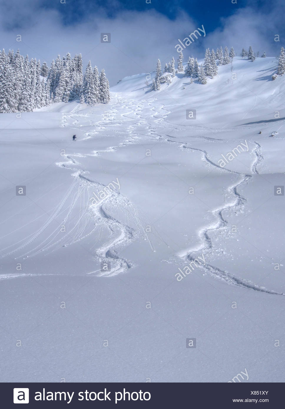 Tracks in the snow, winter sportsperson go from the Lacherspitze. - Stock Image