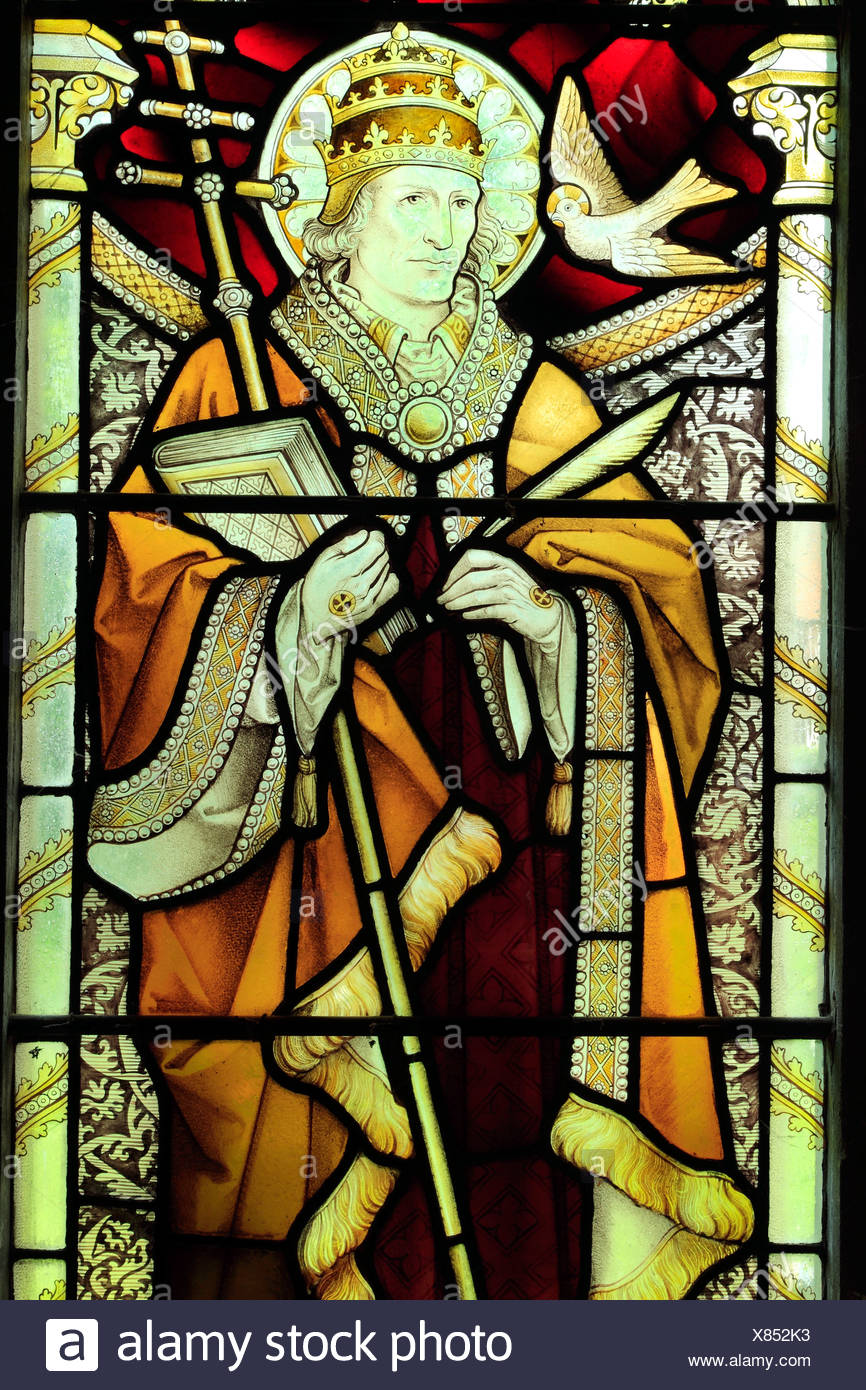 Pope St. Gregory, one of the 4 Latin Doctors, stained glass window by Heaton, Butler & Bayne, c.1890, West Newton, Norfolk - Stock Image
