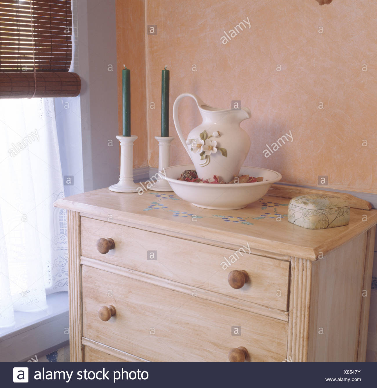 Old Fashioned Jug And Basin On Pale Wood Chest Of Drawers In Economy