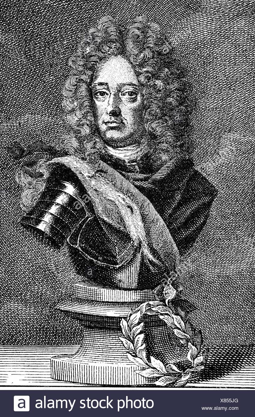 Marlborough, John Churchill, 1st Duke of, 26.5.1650 - 16.6.1722, English general and politician, portrait, copper engraving, 18th century, Artist's Copyright has not to be cleared - Stock Image