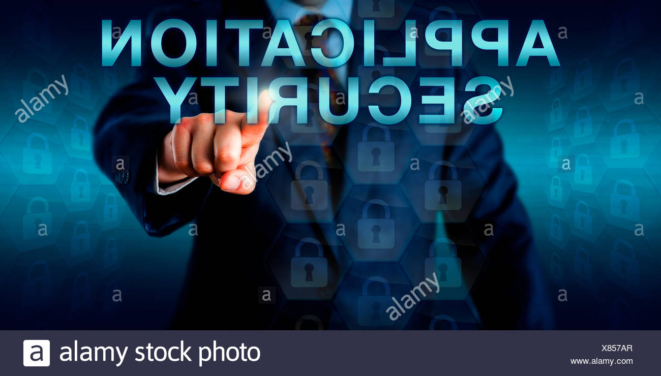 Executive Pushing APPLICATION SECURITY Onscreen - Stock Image