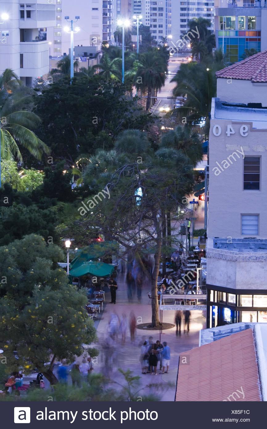 USA, Florida, Miami Beach, Lincoln Road, Fußgängerzone, Übersicht ...
