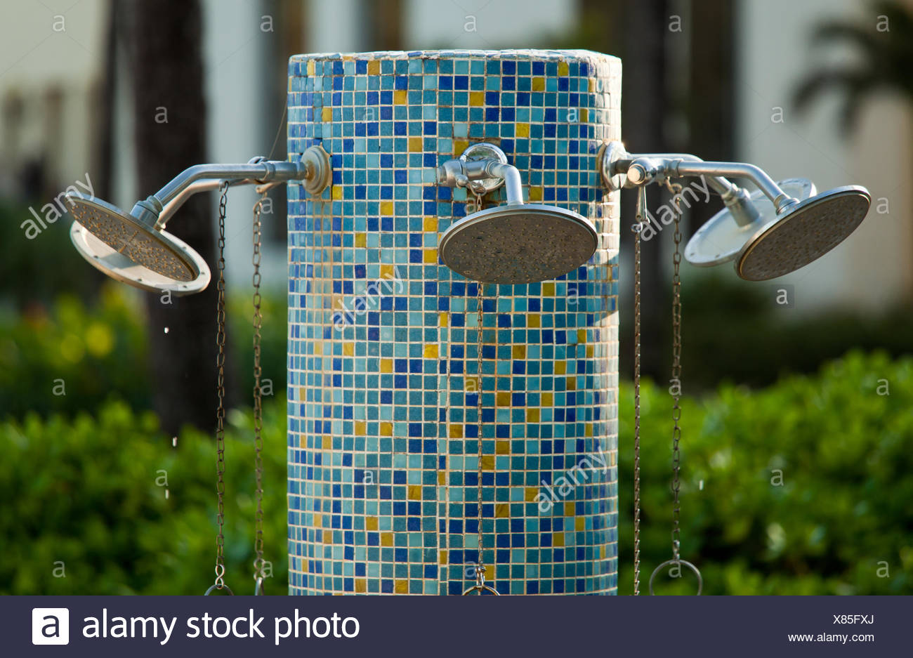 Multiple nozzles on shower Stock Photo