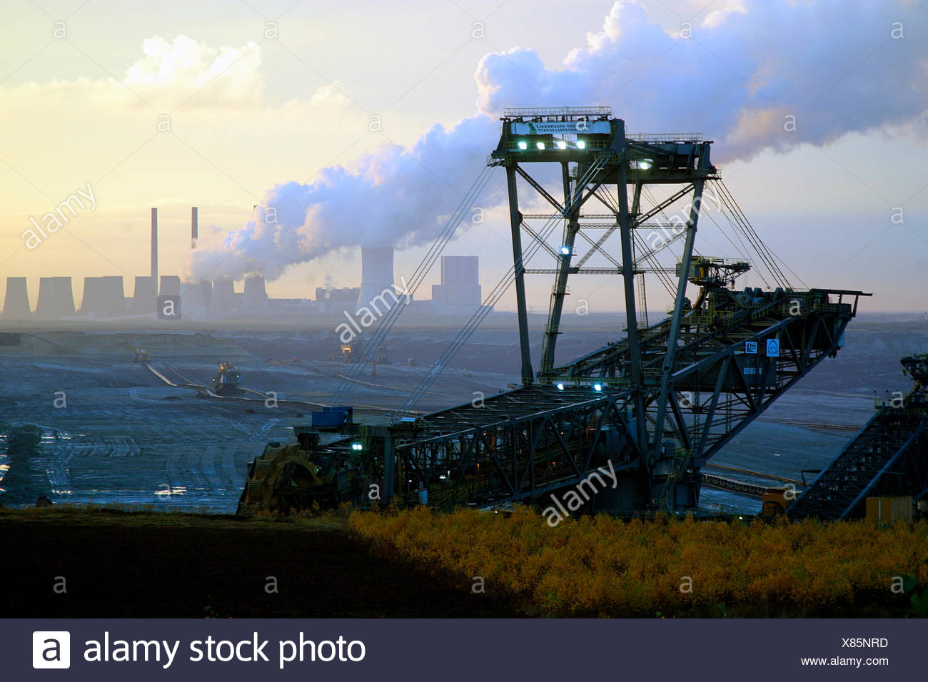 opencast,lignite,power plant,bucket excavator,mining - Stock Image