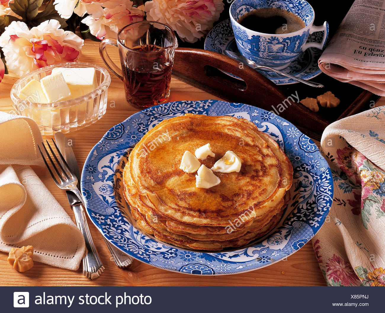 Pancakes with maple syrup, Canada, recipe available for a fee - Stock Image
