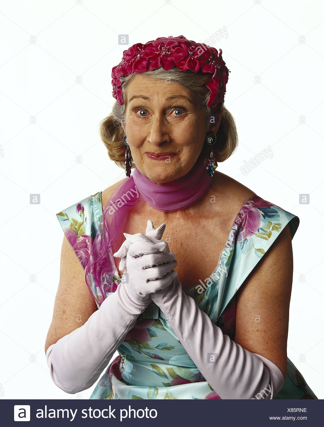 Senior, care, dress, neckerchief, white gloves, gesture, hands, half portrait, mb 125 A3 - Stock Image