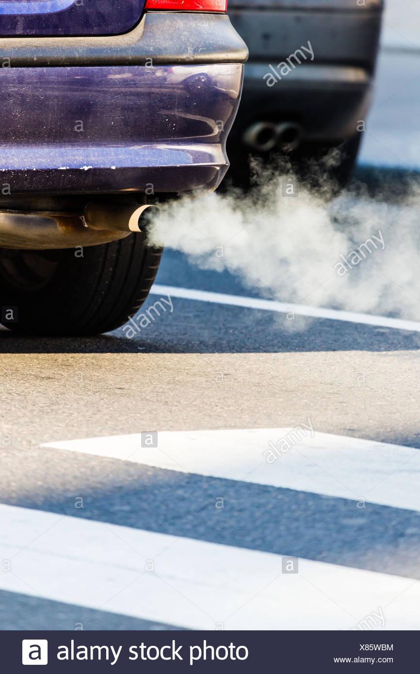 Motor vehicle exhaust gases. - Stock Image