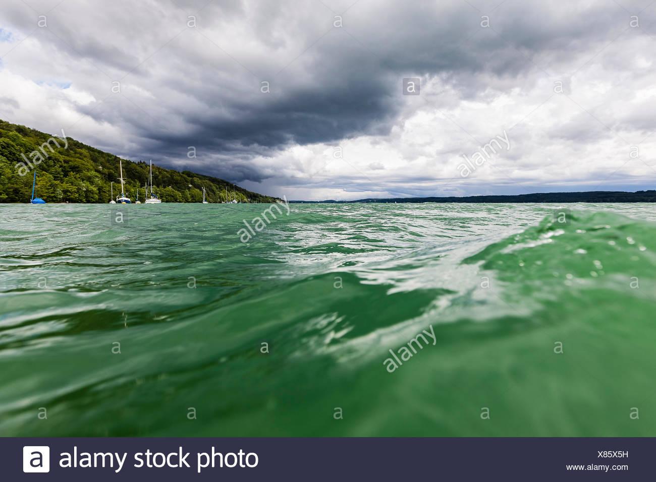 Cloud cover above Lake Starnberg, Upper Bavaria, Germany - Stock Image