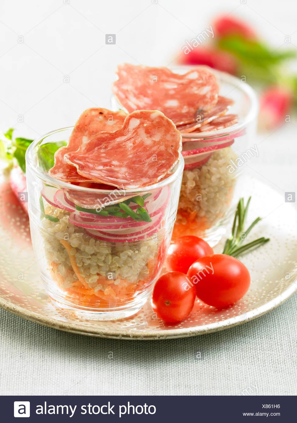 Quinoa,radish,carrot and dried sausage verrine - Stock Image
