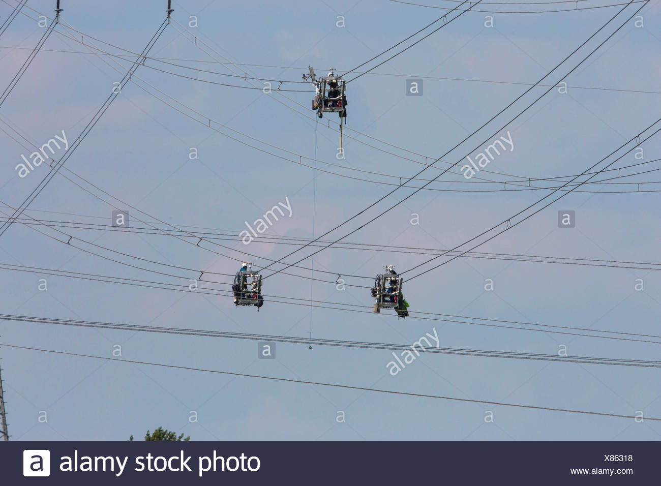 maintenance work on high voltage power lines, Germany, Bavaria - Stock Image