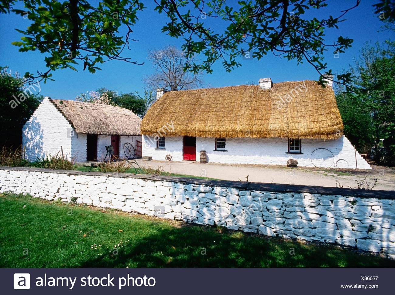 Bunratty Folk Park, Co Clare, Ireland; Cottages In A Folk Park - Stock Image