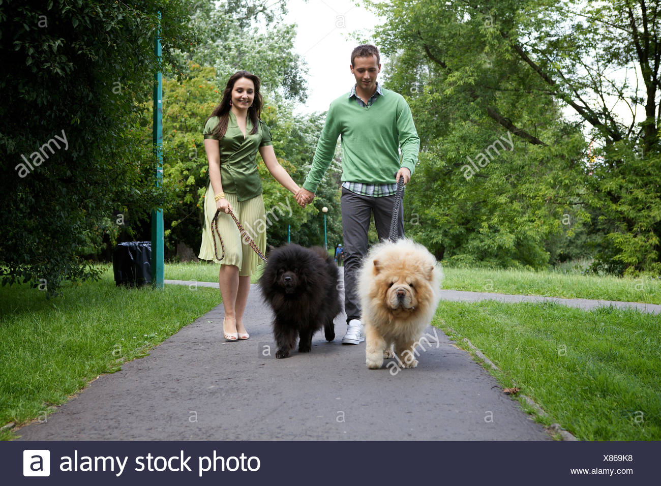 Young couple walking with pet dogs - Stock Image