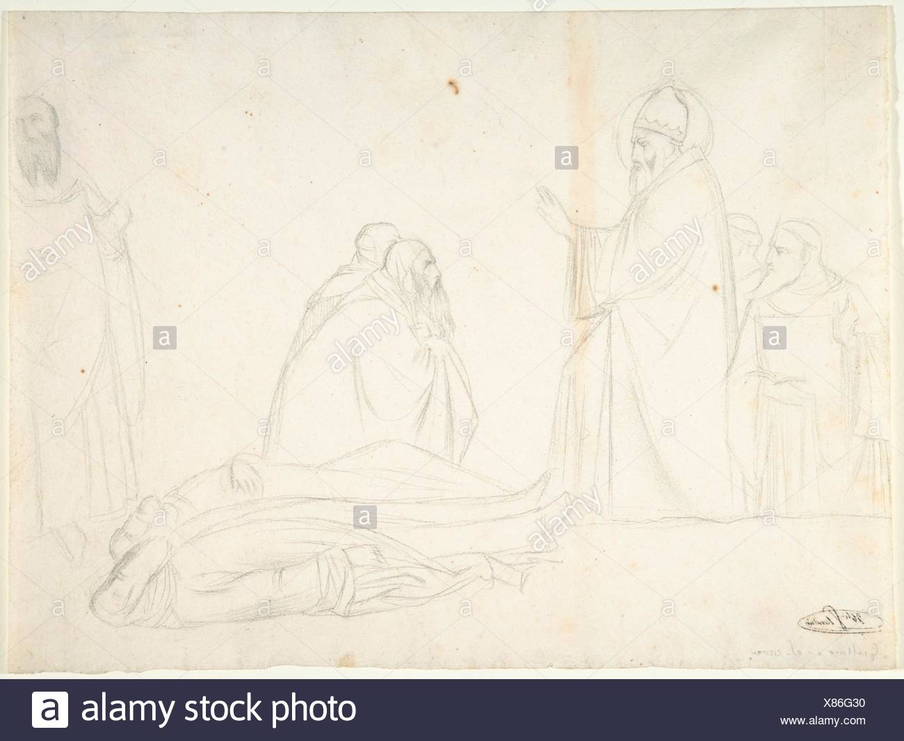 Miracle of St. Sylvester; the Raising of Two Pagan Priests, after Maso di Banco, S. Croce, Florence. Draftsman: Hippolyte Flandrin (French, Lyons - Stock Image