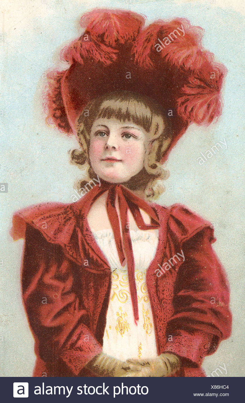 Victorian Lady with red Bonnet - Stock Image