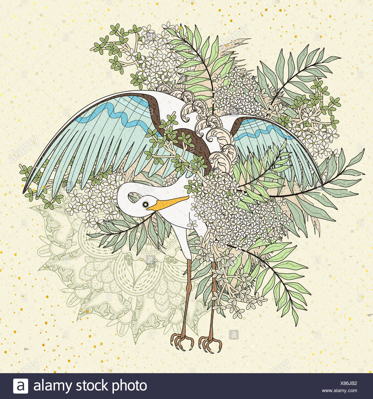 elegant crane coloring page with floral elements in exquisite line ...