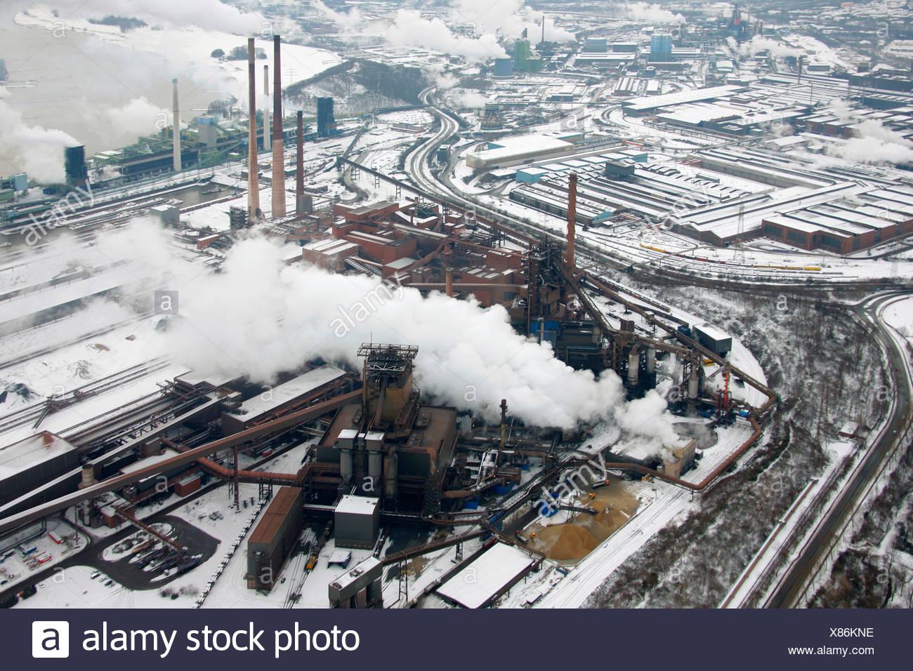 Aerial photo, steelworks, blast furnace 8, ThyssenKrupp Steel, Duisburg, Ruhr, North Rhine-Westphalia, Germany, Europe - Stock Image