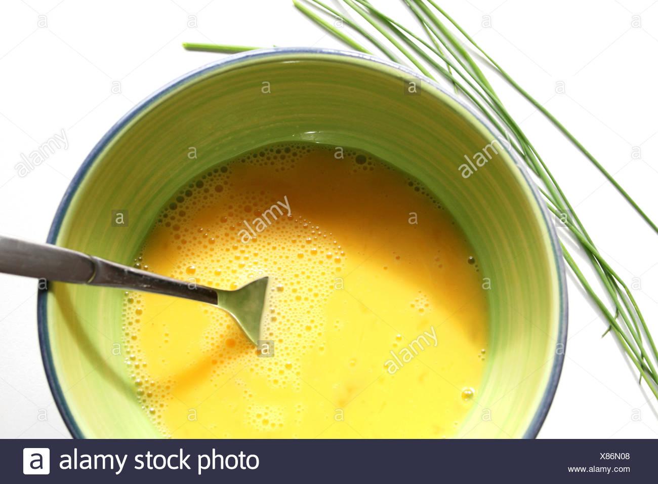 Rührei Zubereitung Stock Photo