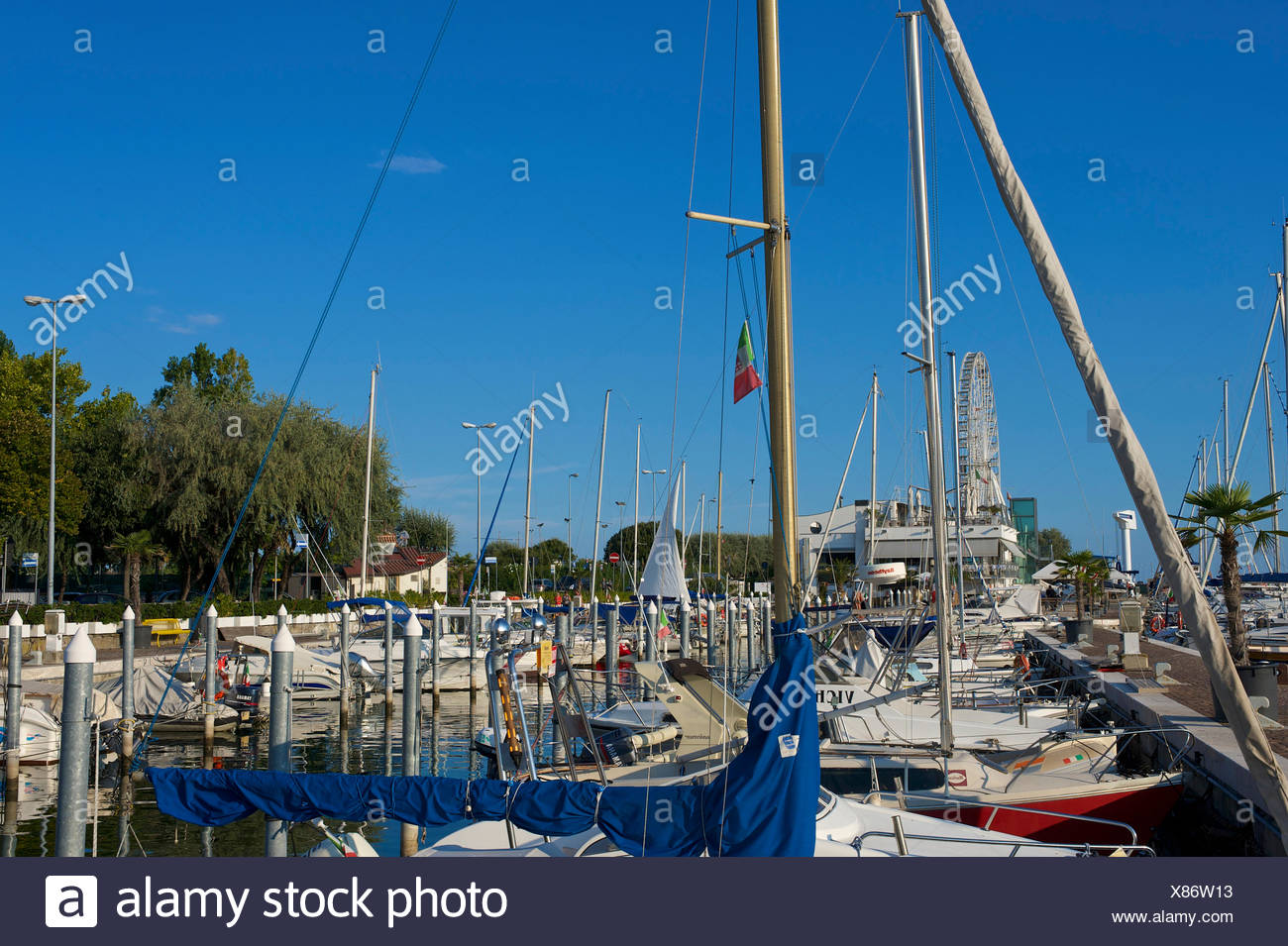 Adriatic, Italy, Europe, outside, day, nobody, Emilia-Romagna, Rimini, yacht harbour, harbour, port, boats, sail boats - Stock Image