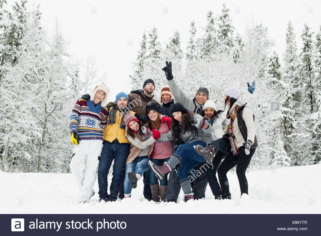 group photo of adults in the countryside - Stock Image