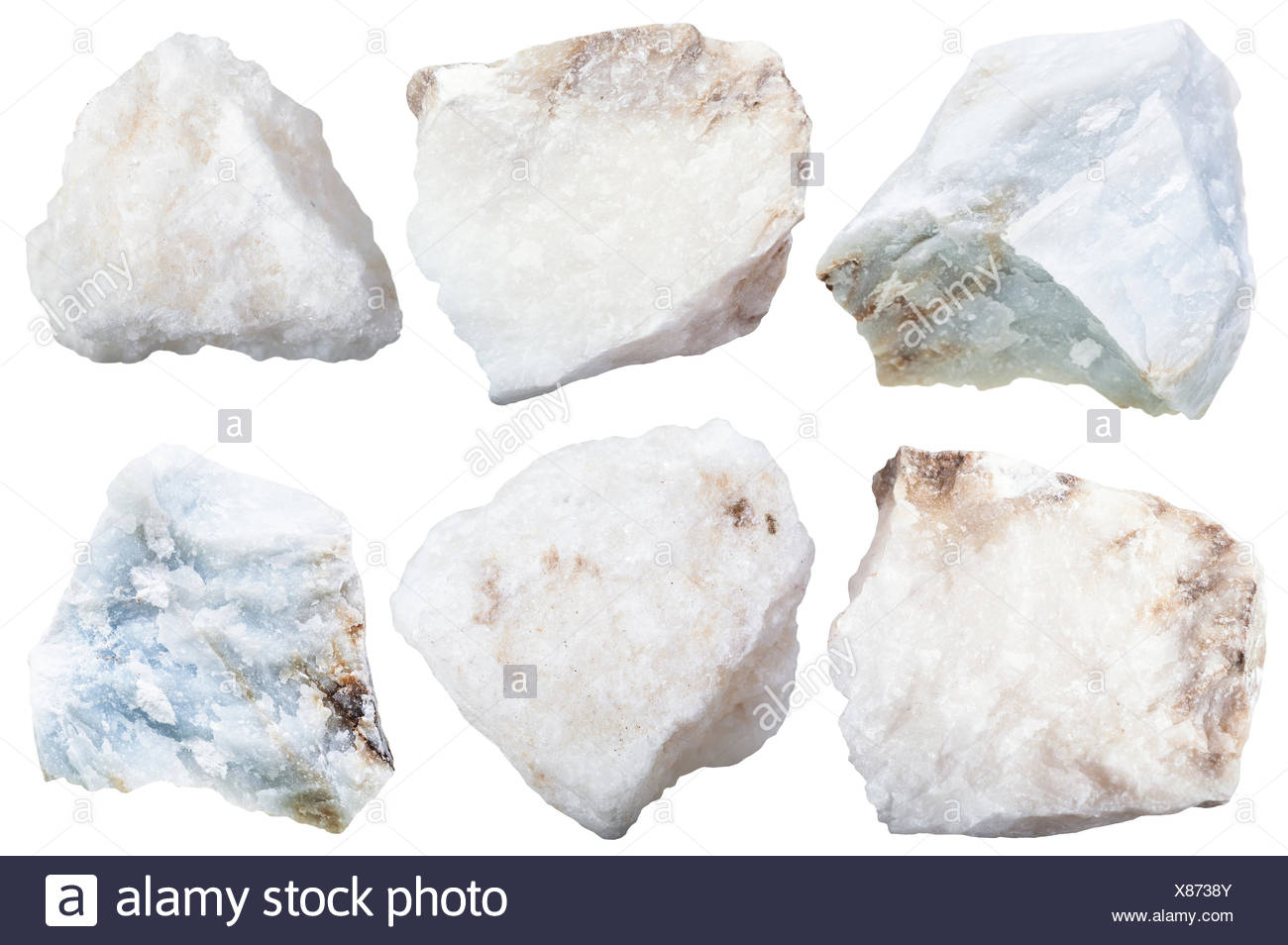collection from specimens of anhydrite stone - Stock Image
