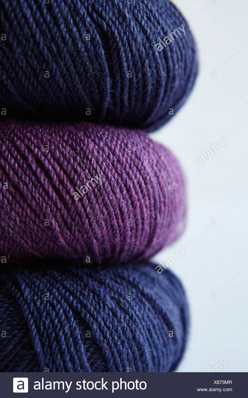 Close up of colorful skeins of yarn - Stock Image