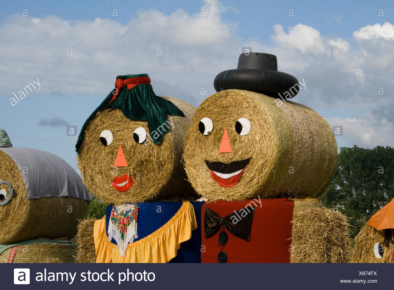 Two figures made out of straw bales Stock Photo