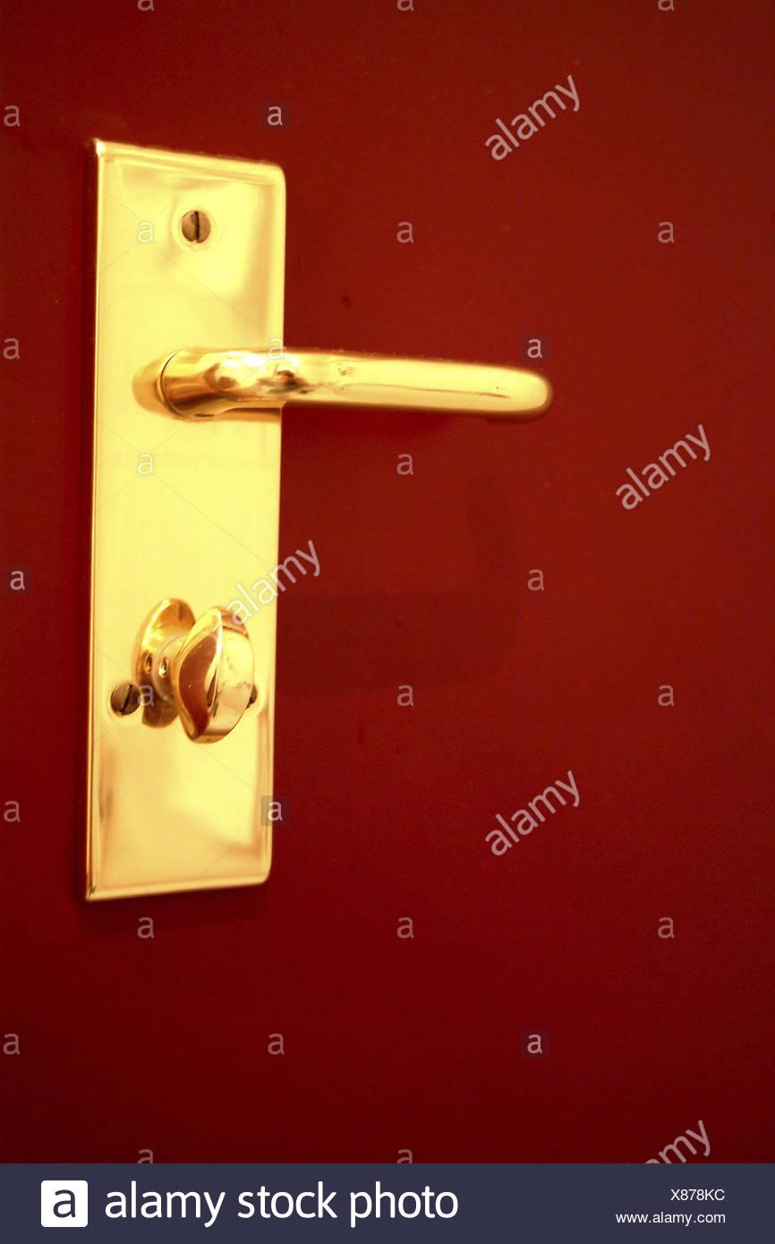 Door, detail, door handle, lock, room door, bathroom door